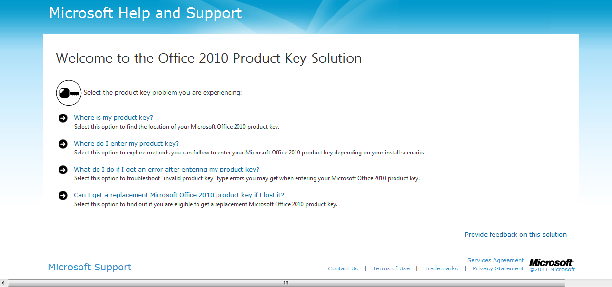 how to  microsoft with product key