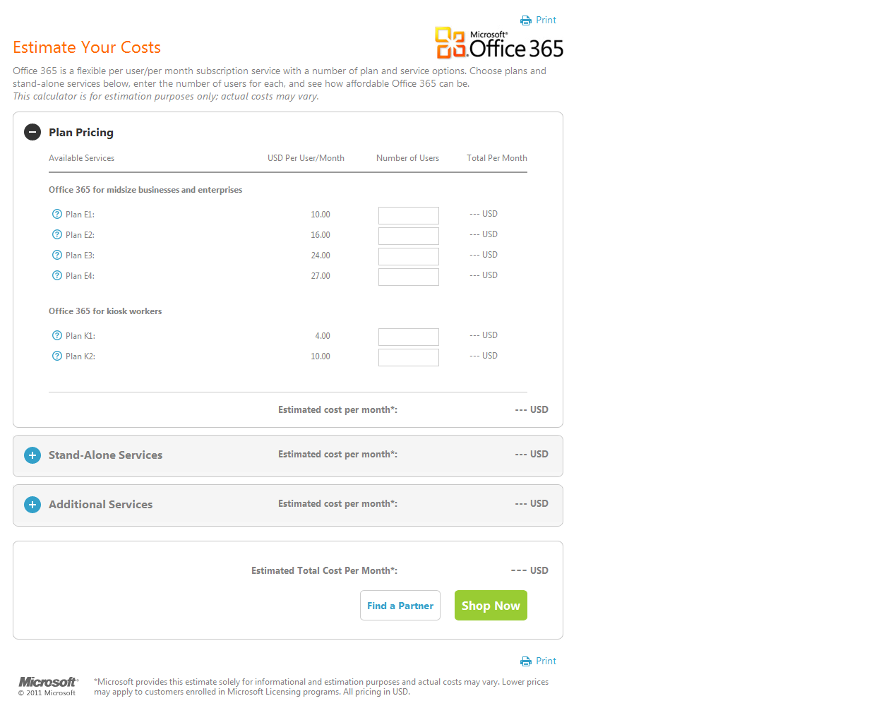 Microsoft office 365 services cost estimator now available for Window 365 login